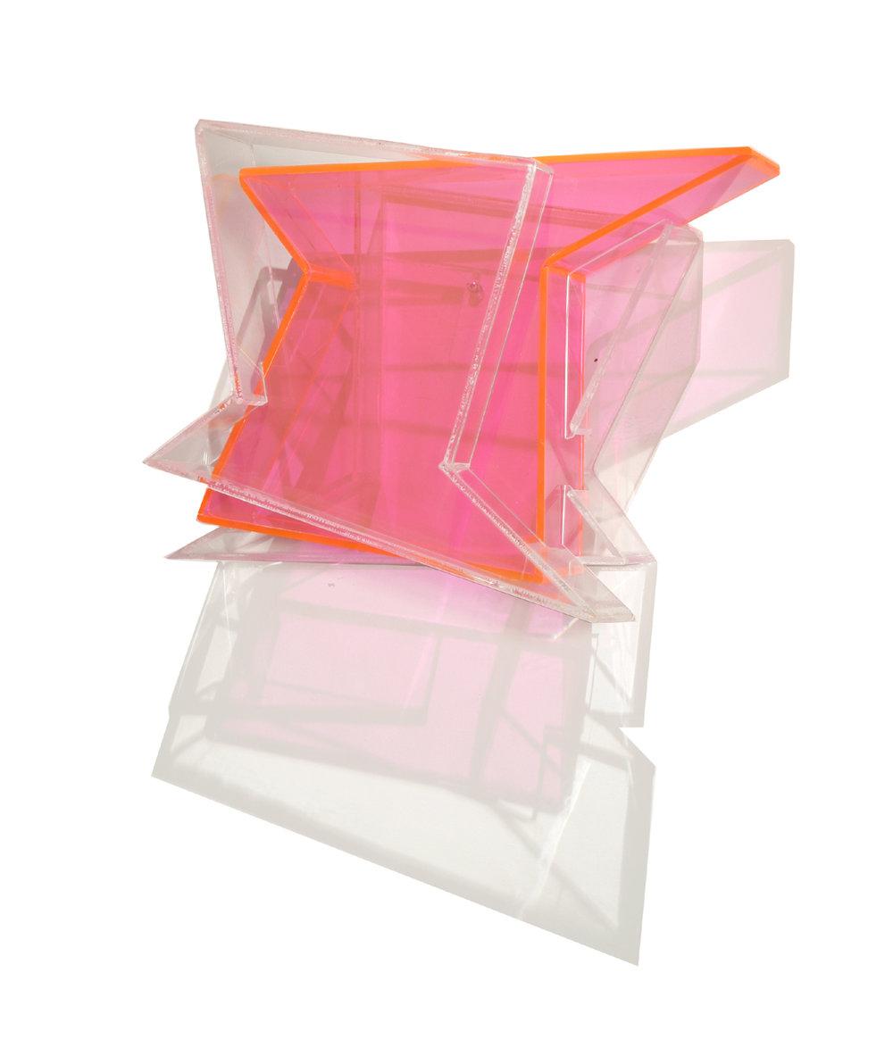 Over Tracks  (pink) 2006 Plexiglas 13Hx19Wx7D inches / 48x33x18 cm