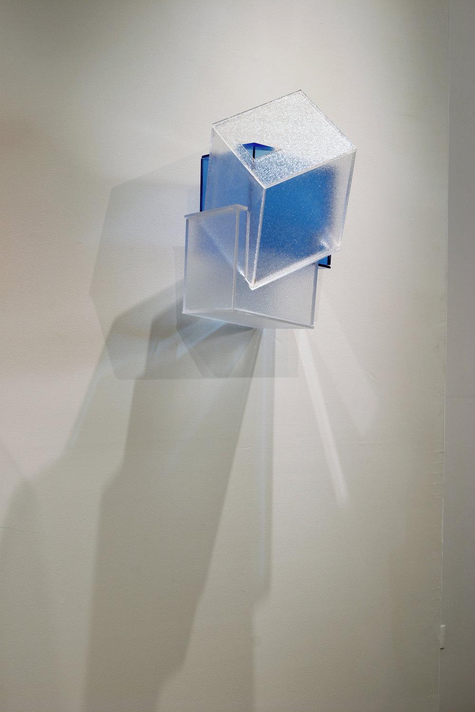 Internal Logic  (blue) 2005 Plexiglas 17Hx9Wx9D inches / 43x23x23 cm