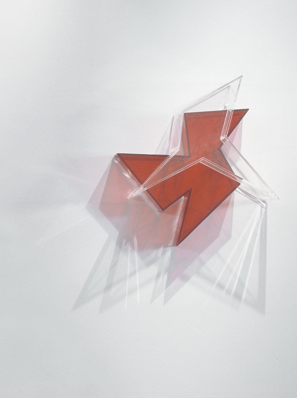 Settled Edge  (red) 2004 Plexiglas 4.5Hx18Wx19D inches / 11x46x48 cm