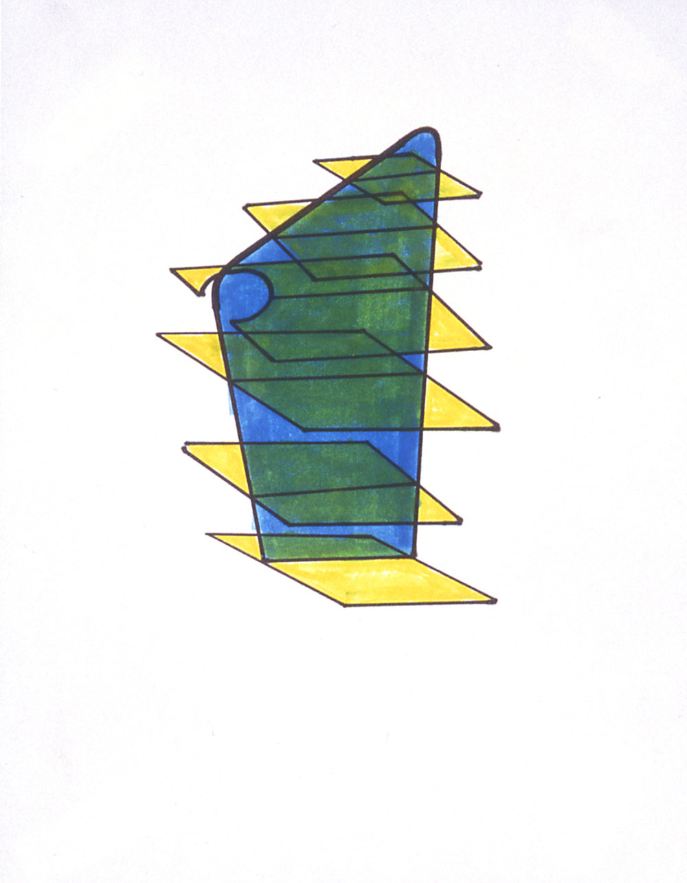 Assumed Solidity II, 1999 Permanent marker on 100% rag paper 11.5 x 9 inches / 29x23 cm