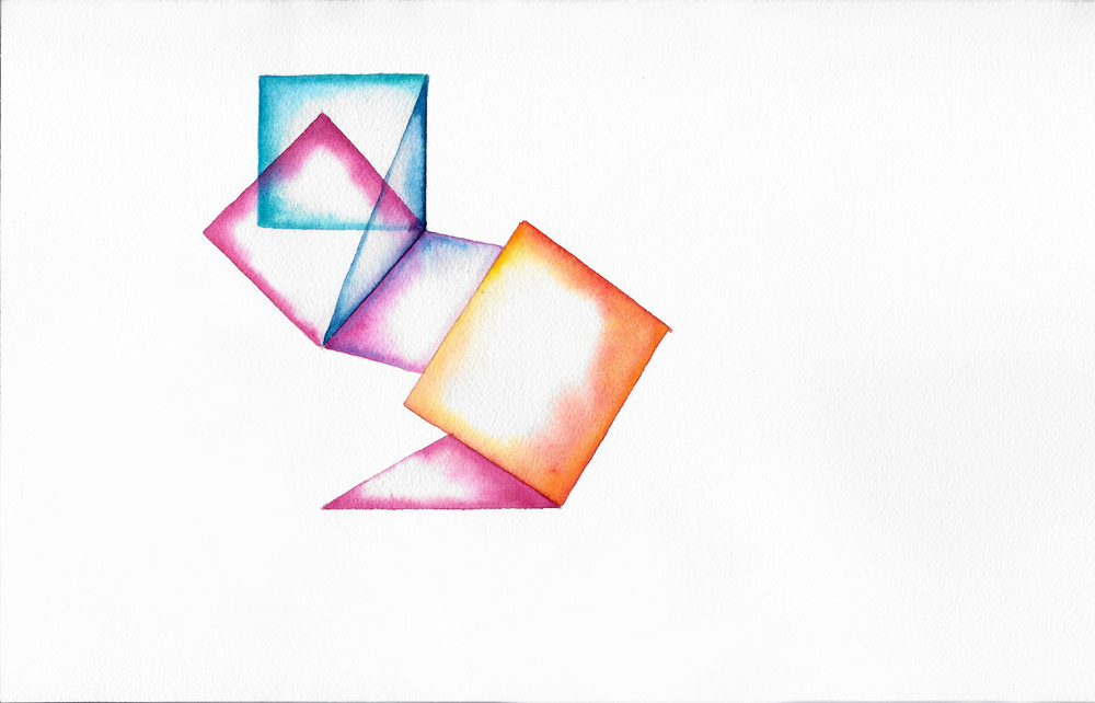 Folded 6   2014  watercolor on 100% rag paper 10x14 inches / 25x36 cm