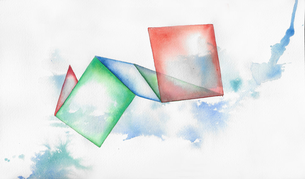 Folded 8    2015  watercolor on 100% rag paper10x14 inches / 25x36 cm