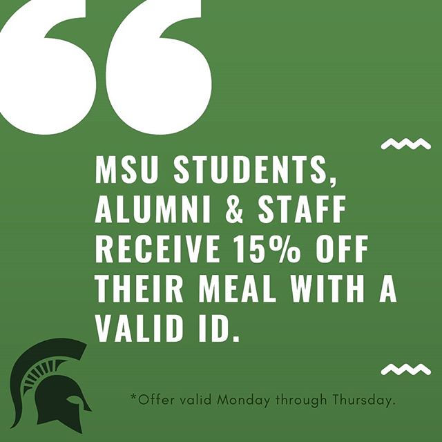 We are overwhelmed with the amount of ❤️ shown by the MSU community and as a token of appreciation, we will now be knocking 15% off the entire meal to MSU students, alumni and staff. Offer redeemable Monday through Thursday every week with a valid ID.  #eastlansingeats #michiganstate #himalayancuisine #eastlansing #lansingeats #msuspartans