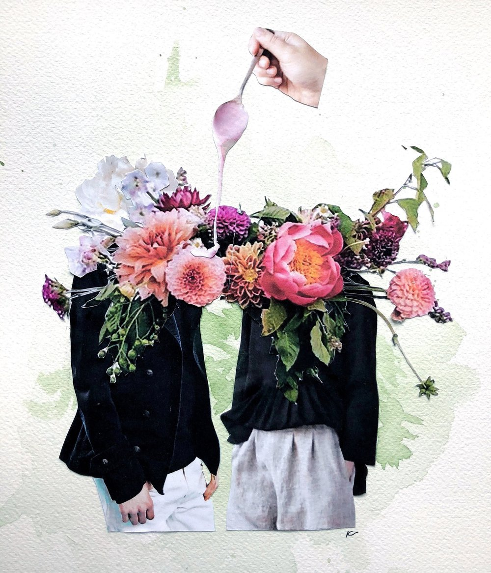 The Sweetness of Blossoming Love - 2018 mixed media collagePrivate Commission