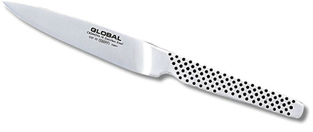 Global Universalkniv - NOK 562De beste knivene lages fortsatt i Japan.Yoshikin bruker en type rustfritt stål som heter CROMOVA 18 Stainless Steel. Dette stålet er designet ekslusivt for Global. Stålet er hardt nok for at knivene skal holde seg skarpe over tid, samtidig som det er mykt nok til at de er enkle å slipe.