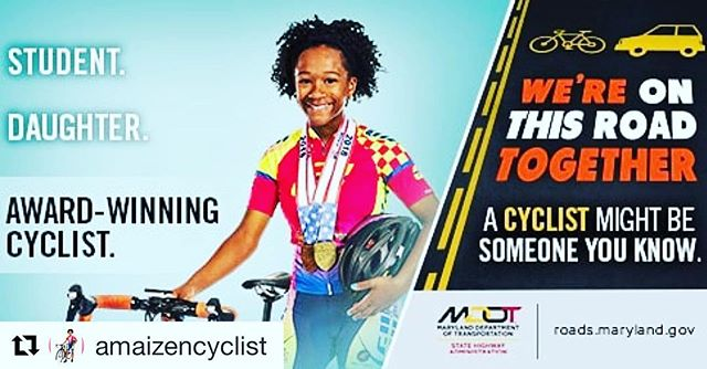 """Congrats to @amaizencyclist for showing young girls how to stay active on a bike. 🚴🏽♀️👏🏽👏🏽 Way to go Maize!! ・・・ """"It's official! Thanks to @marylandstatehighwayadmin for the opportunity to model for Maryland State Highway Administration Bicycle Safety campaign. Not only will you see me pedaling on the road, you may now see me on billboards along the roadway."""" Frederick Road E/O Old Frederick Road in Baltimore County  Washington Blvd N/O Levering Avenue in Howard County  #amaizencyclist #amaizen #2024olympiccyclist #bikedoctorwaldorf #cannondaleroad #cannondaledmv #pactimo #fizik #zippspeed #pactimocustom #maizeandchildrensnational #peacockphysicaltherapy #gettingitincyclist #djbattledmv #strive2tri #usacycling"""
