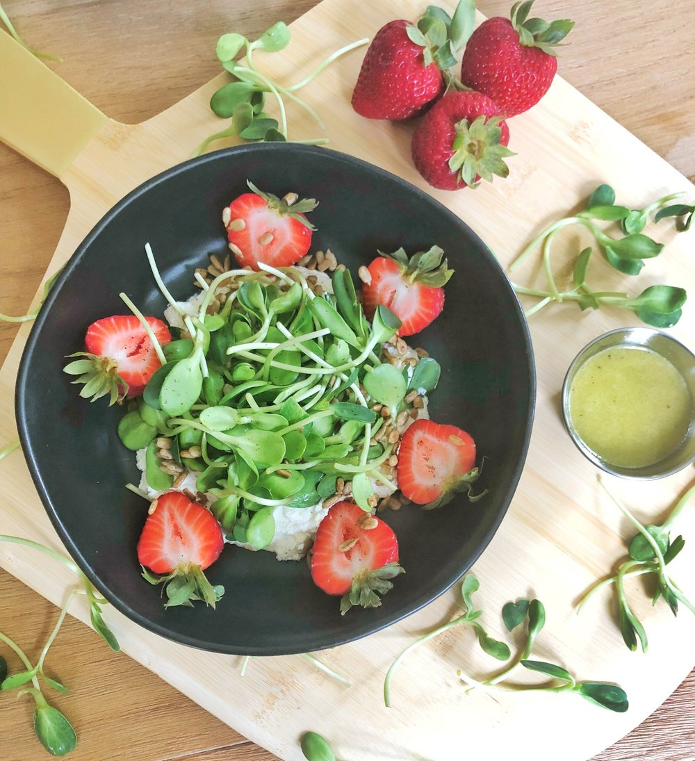 Crunchy Callie's Strawberry + Sprout Salad.jpg-salad+clean+eating+whole+food+stawberry+sprouts-summer