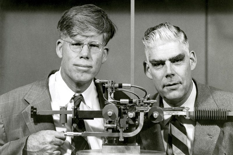 Russell & Sigurd Varian - Life Magazine's Jan. 4, 1954 issue featured Russell and Sigurd Varian surrounded by wave guide apparatus used with klystrons. (Photo: Ansel Adams)