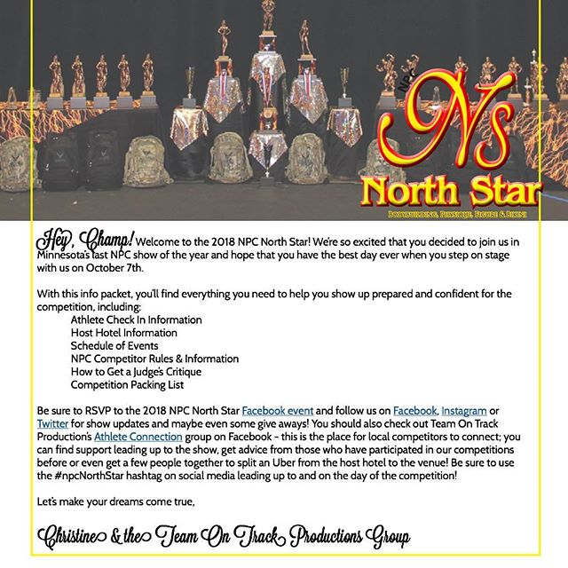 Hey 2018 #npcNorthStar athletes! Your athlete info packets went out via email yesterday - make sure you download it from the second, revised email! You'll find a guide to all the things you need to know for registration & show day in there like what to bring to registration, maps, info on how to get a critique from the judges and a packing list for the show!