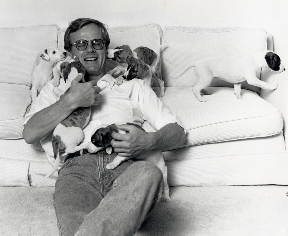 Bo with puppies, early 1990s. -