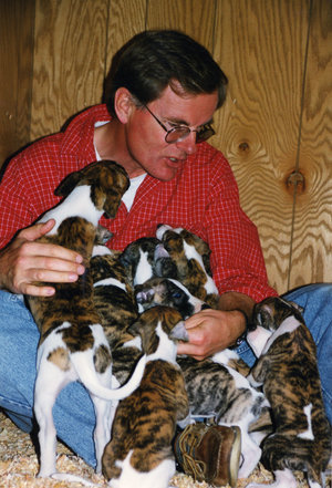 Bo with Bohem puppies in the late 1990s. -