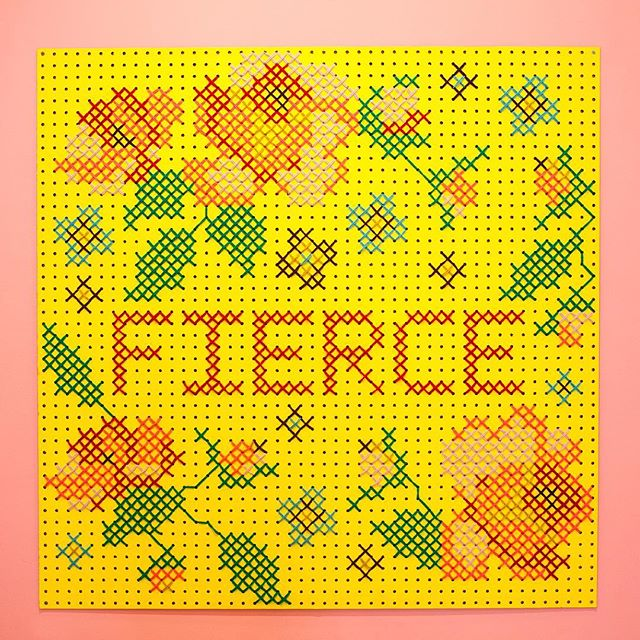 We hope your week is FIERCE. Giant cross-stitch designed and made by CSC co-founder @stillnotjane on display at @studio_sohy. 📷 by @juliette_fradin_photography #fierce #befierce #thispieceisfierce #crossstitch #giantcrossstitch #fiberart #yarn #herstory #herstoryhvl #hyattsville #studiosohy #sohy #tinyhall #mondaymotivation #acreativedc #bythings #bythingsdc