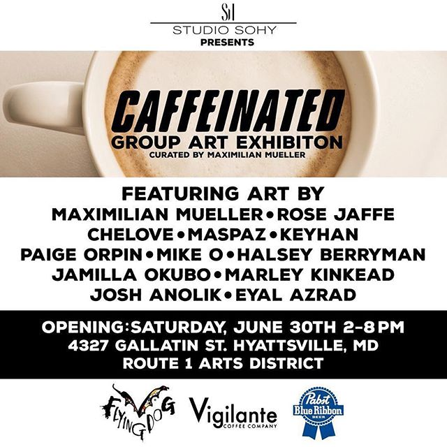 "We are sad to say goodbye to Her Story next week, but we are excited to check out ""Caffeinated"" curated by @muellerstudios! Show opens 6/30, 2-8pm along with a SoHy Scavenger Hunt + Block Party + Skate Jam!  #studiosohy #caffeinated #sohy #muellerstudios #skatejam #localart #hyattsvilleartsdistrict #acreativedc"