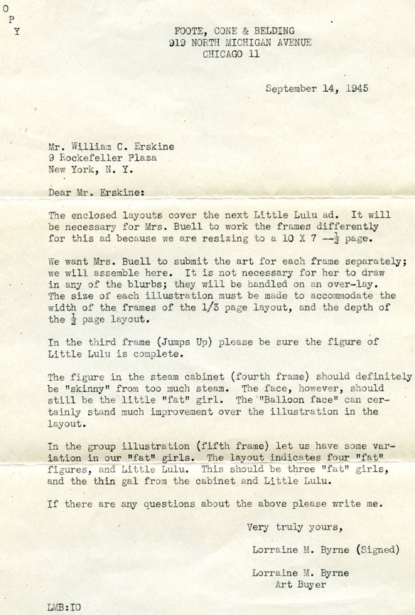 Letter from Foote, Cone & Belding, Kleenex's ad agency, regarding Marge's drawings.