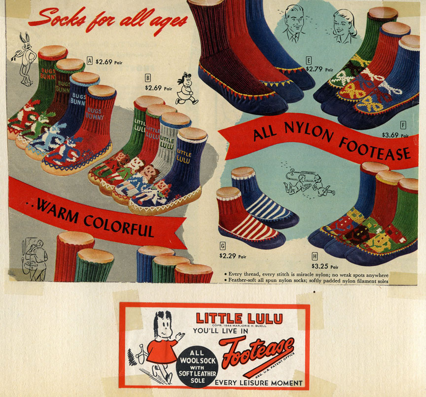 Ad and tag from Lulu likeness on Footease loafer socks. From a scrapbook in the Marge Papers.