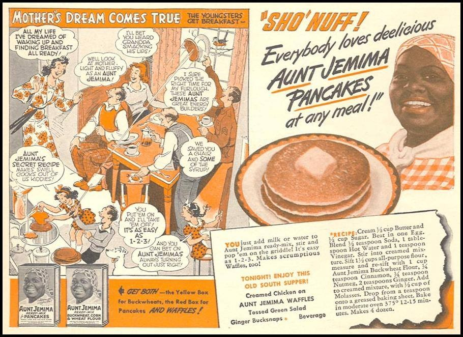 """""""Right Around Home"""" promoting Aunt Jemima pancake mix (click to enlarge)."""