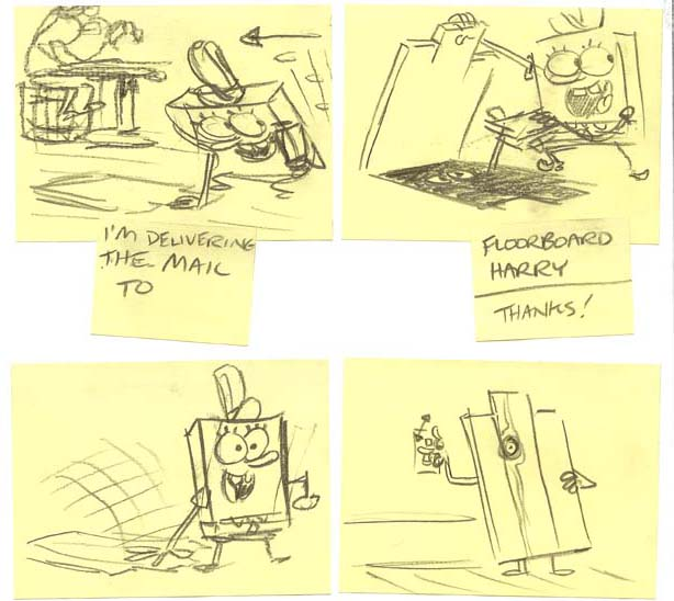 "Roughs by Jay Lender from a deleted scene from ""Graveyard Shift,"" in which SpongeBob is delivering mail to Floorboard Harry. This gag is the predecessor to the Nosferatu gag that concludes the broadcast episode, and Floorboard Harry initially flickers the lights."