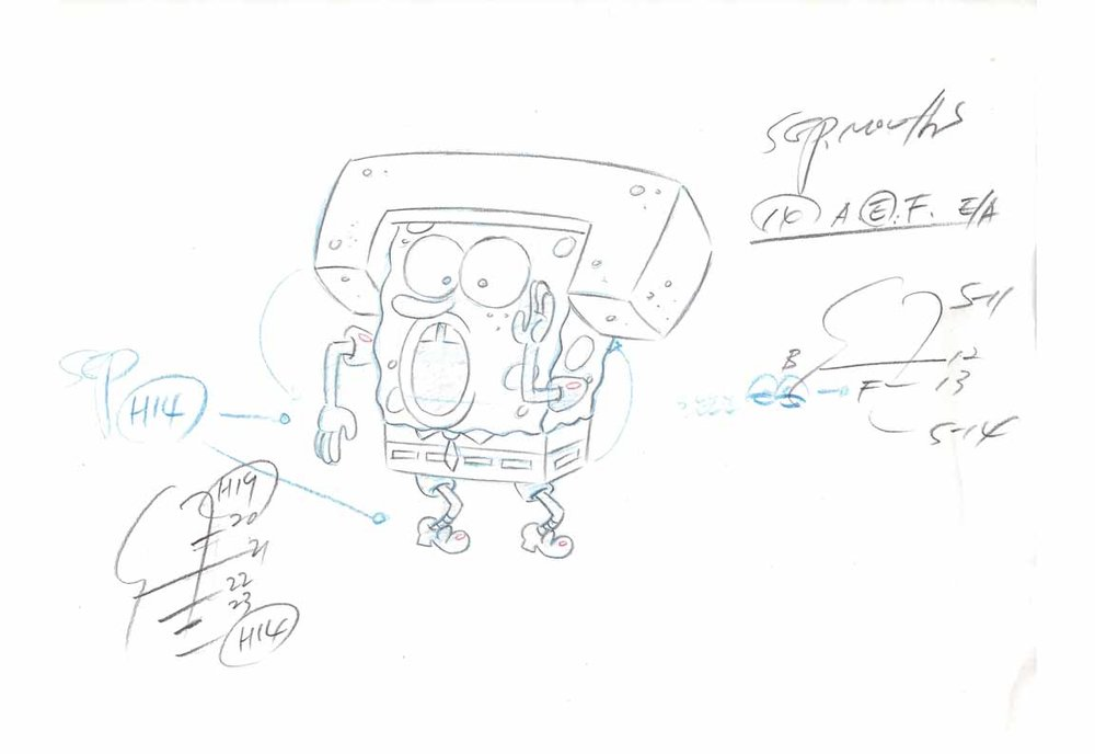A SpongeBob layout sheet.