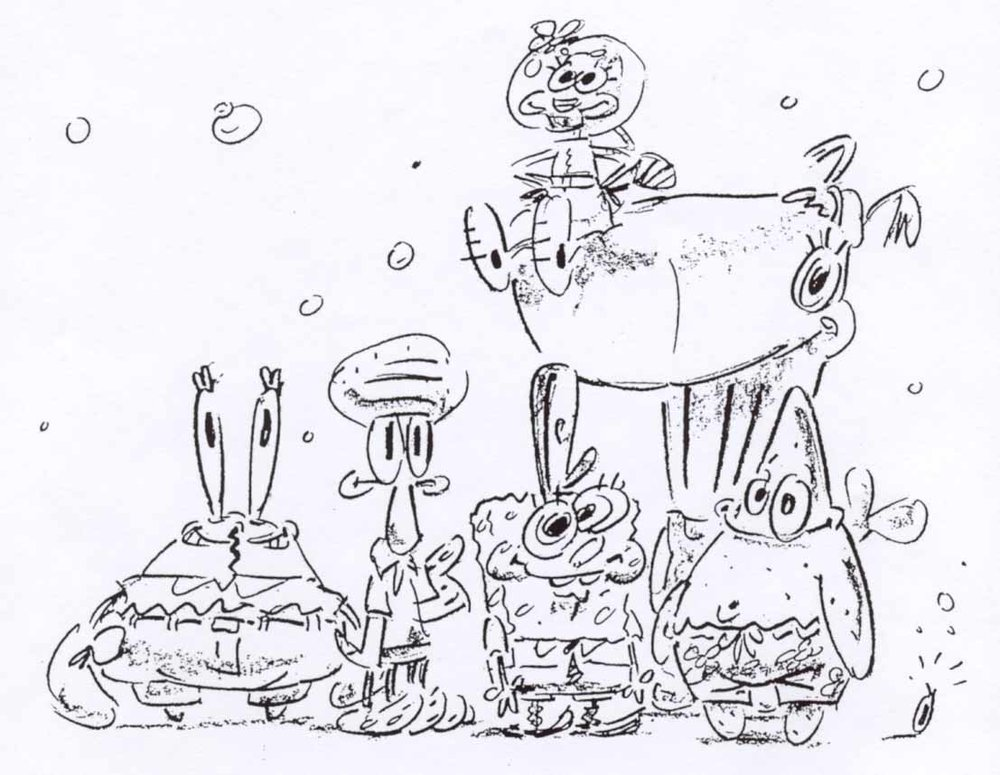 The SpongeBob cast as shown in Steve Hillenburg's series bible.
