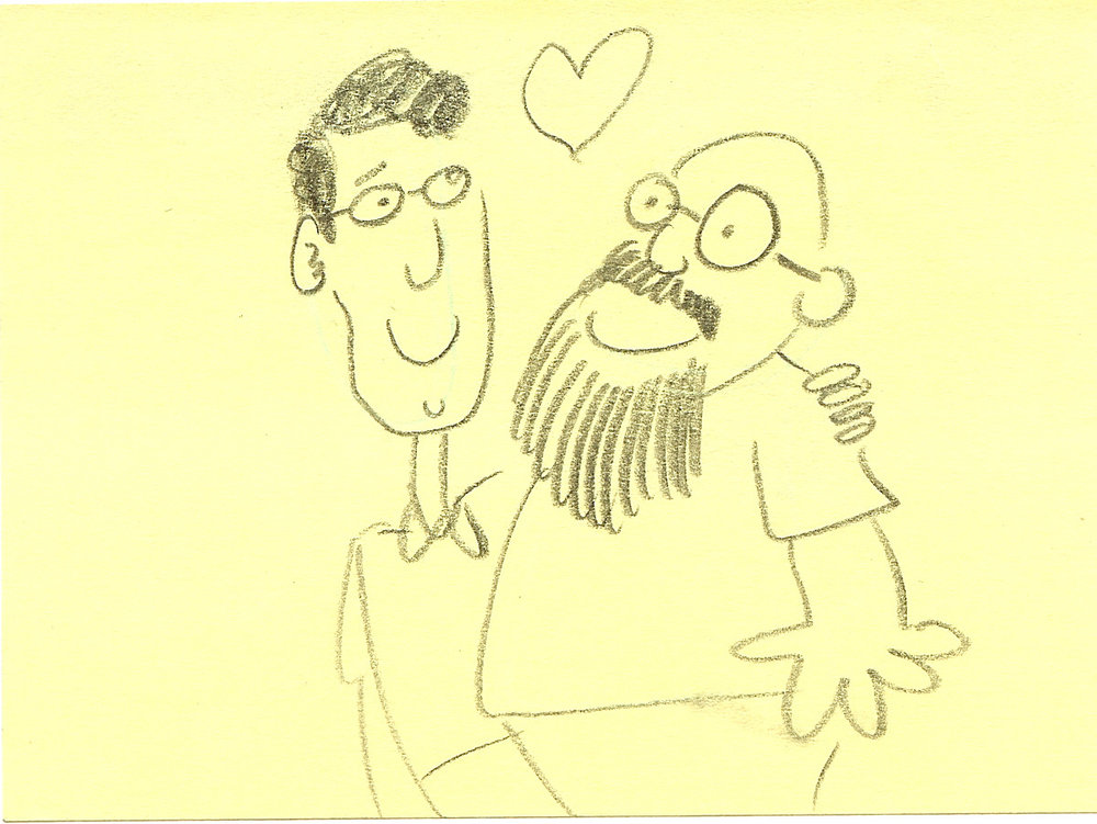 Sketch by SpongeBob writer and storyboard artist Sam Henderson of Jay Lender (left) and Sherm Cohen.