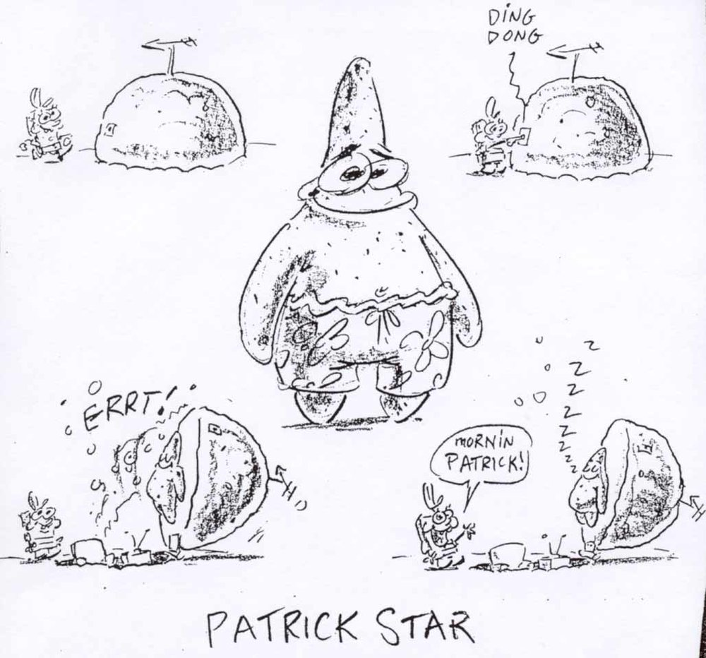 A drawing of Patrick from Steve Hillenburg's series bible.