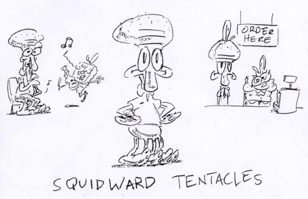 Depictions of SpongeBob's reluctant coworker, Squidward, from Steve Hillenburg's series bible.