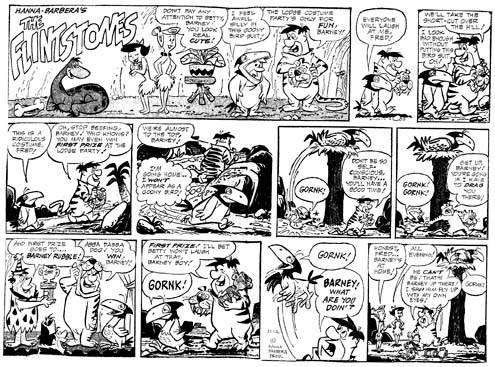 Hazelton's first Flintstones Sunday page, from 1961 (click to enlarge)