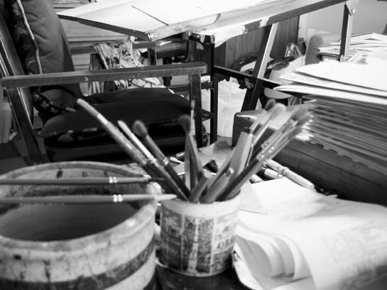 Blake's brushes, near his drawing table (click to enlarge).