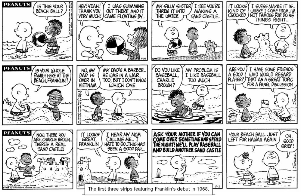 The first three Peanuts strips featuring Franklin (click to enlarge)