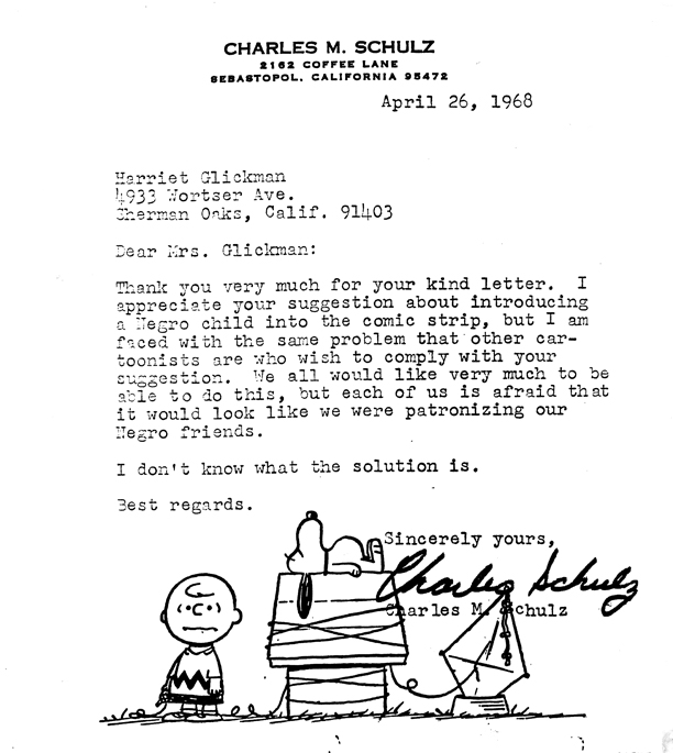 Schulz's first letter to Glickman