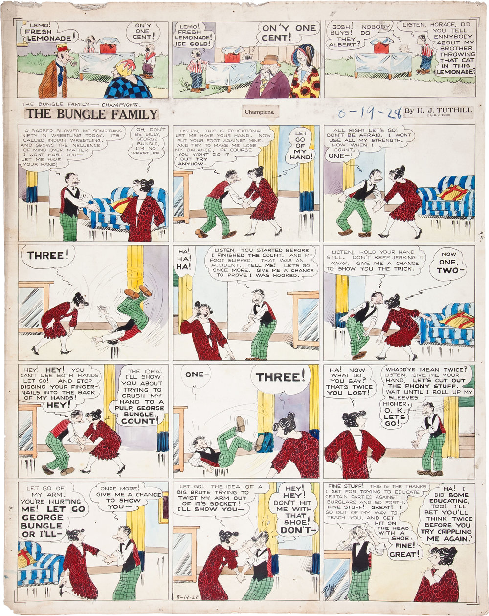 A 1928  Bungle Family  Sunday page. (Click to enlarge; this page is presented large for savoring, so use the zoom feature on your browser to appreciate it properly.)