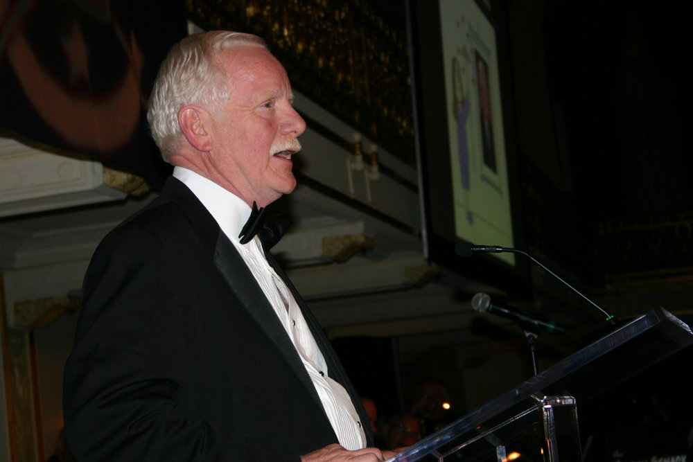 Salem accepting the NCS's Silver T-Square Award in May 2013 for service to the cartooning industry (click to enlarge).
