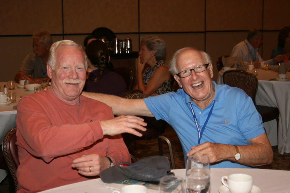 Salem and Universal co-founder John McMell (right) at a National Cartoonists Society event.
