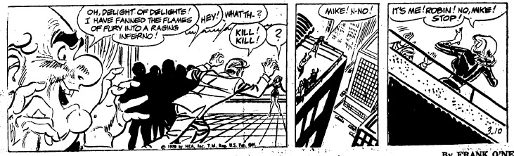 A version of the March 10, 1970, strip that ends with Mike rushing toward Robin.