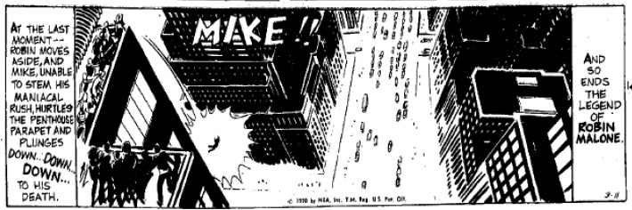 """March 11, 1970 (with """"RIP RM"""" encoded into the strip and Robin's name called out)"""