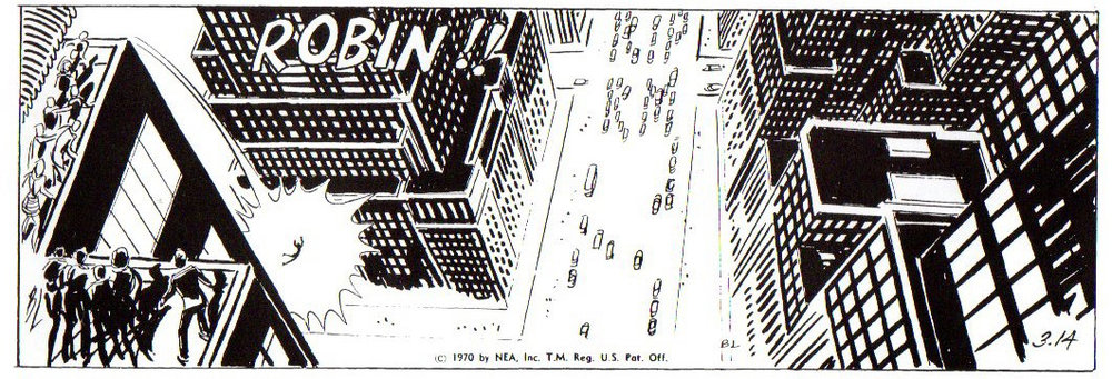 """March 11, 1970 (with """"RIP RM"""" encoded into the strip and Robin's name called out"""