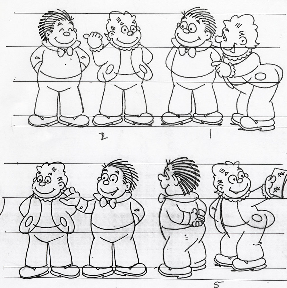 Eisman's model sheet of Hans and Fritz from The Katzenjammer Kids, which Eisner draws today (click to enlarge).