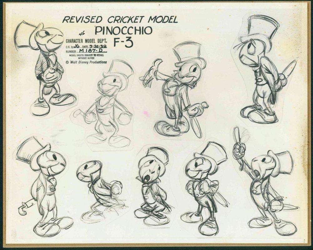 A Jiminy Cricket model sheet by Kimball.