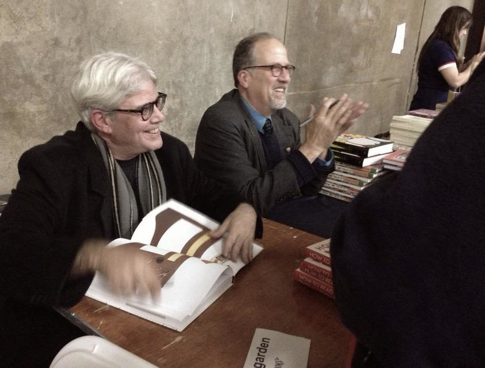 Newgarden (left) and Karasik sign books at the 2017 Comic Arts Brooklyn festival. Photo by and © Beth Pearson