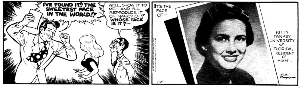 The May 14, 1951,  Li'l Abner  strip announcing Pankey as the winner of Capp's search for the Sweetest Face in the World.