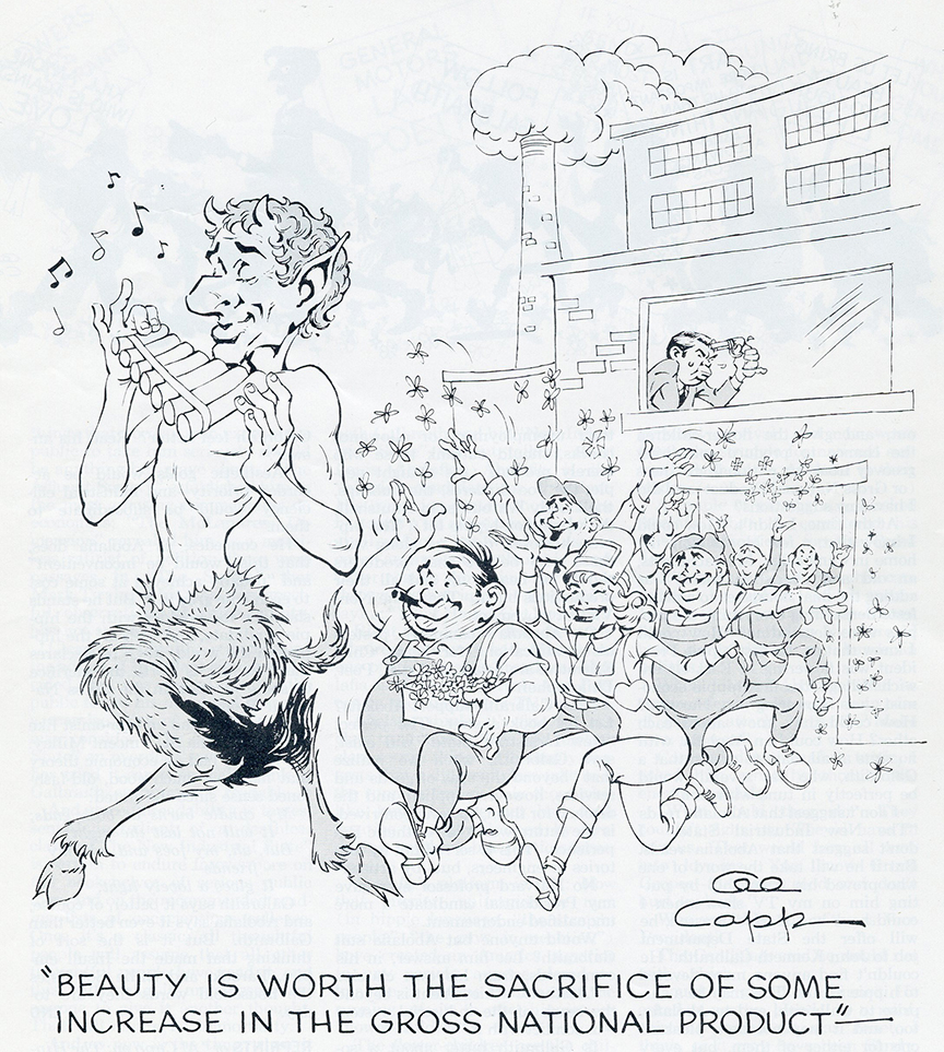 """Capp illustration to accompany """"Hippie Economics"""""""