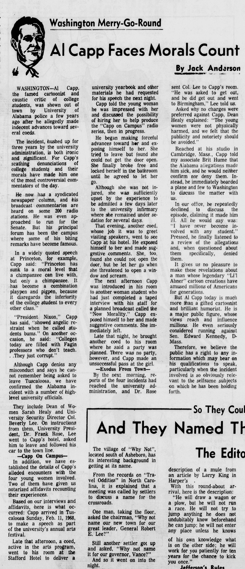 The 1968 newspaper column that brought nationwide attention to Capp's behavior with coeds in Alabama.