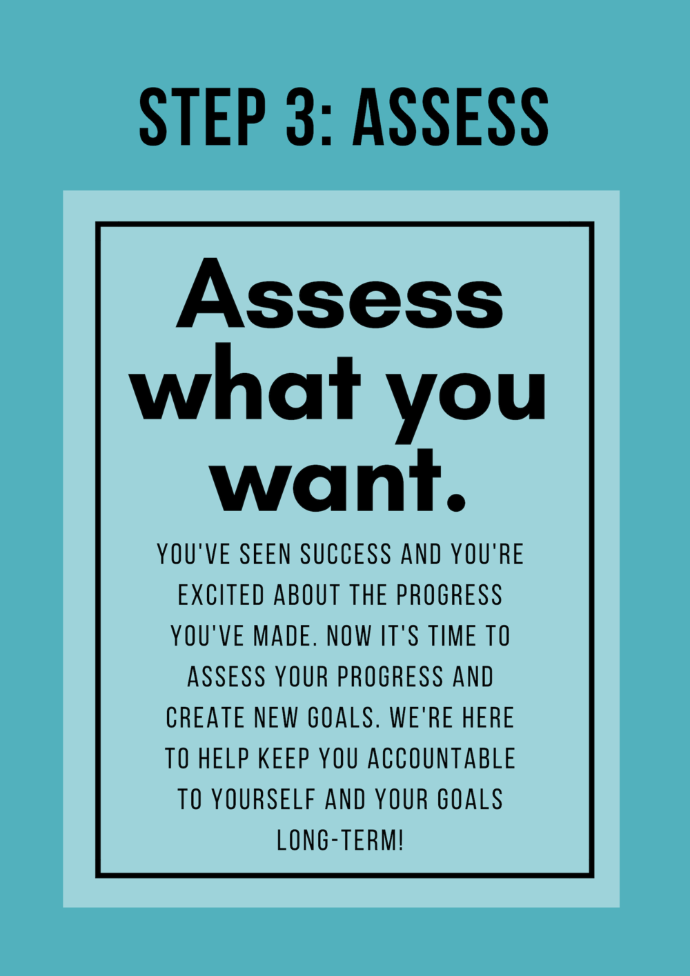 Assess what you want