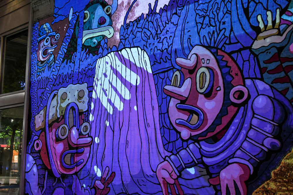 Back In The Pond  a collaboration with Muralist Birdcap (aka Michael Roy) and Ninjacat (aka Christopher Reyes) Downtown Memphis, TN.