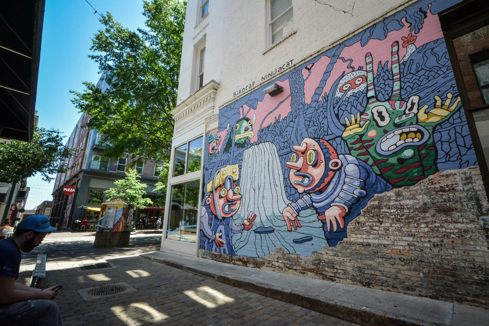 Light Mural by Birdcap and Ninjacat in downtown Memphis, TN