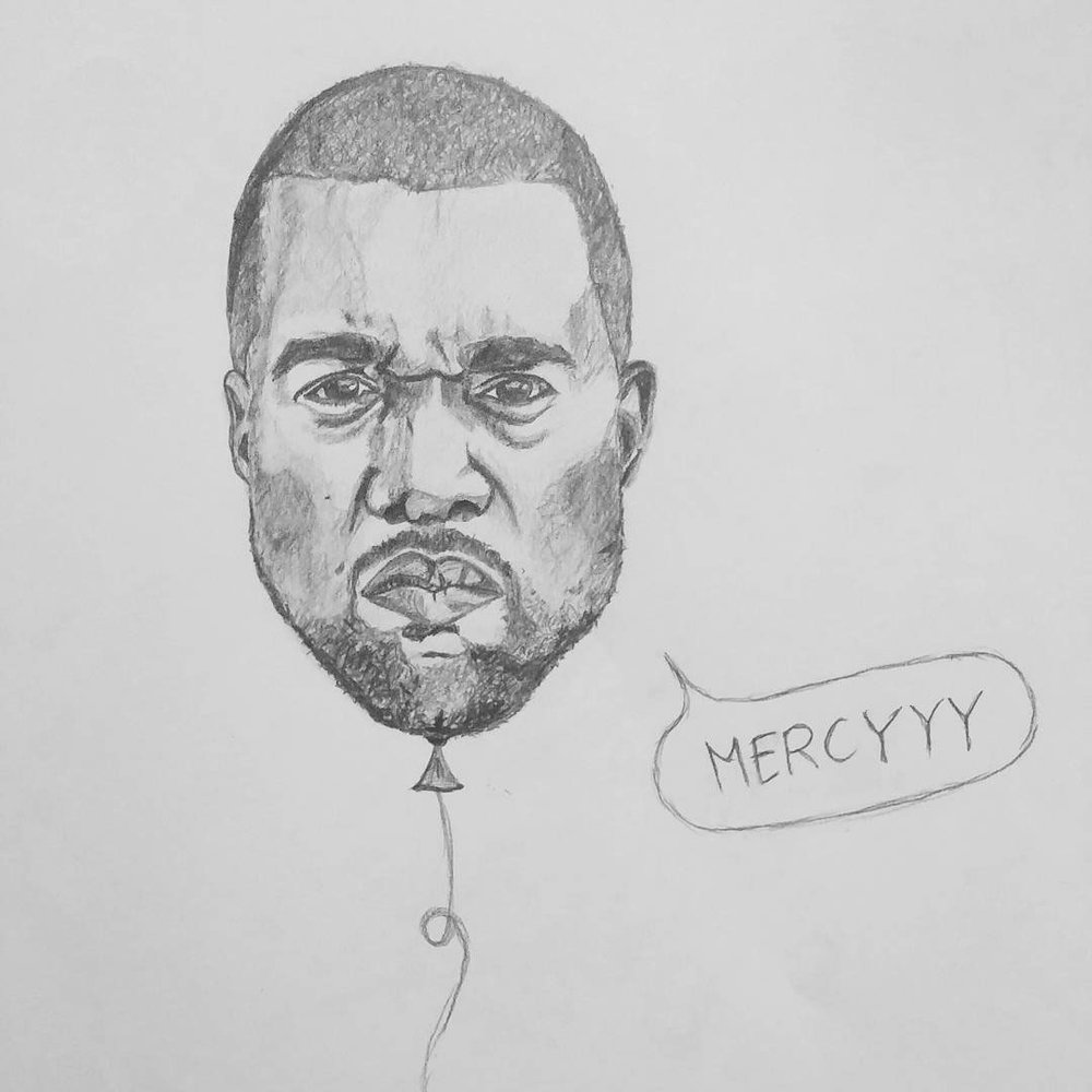 "Kanye West — this is one of many sketches of my ""Pop It"" Series (Quick, someone hand me a needle!)"