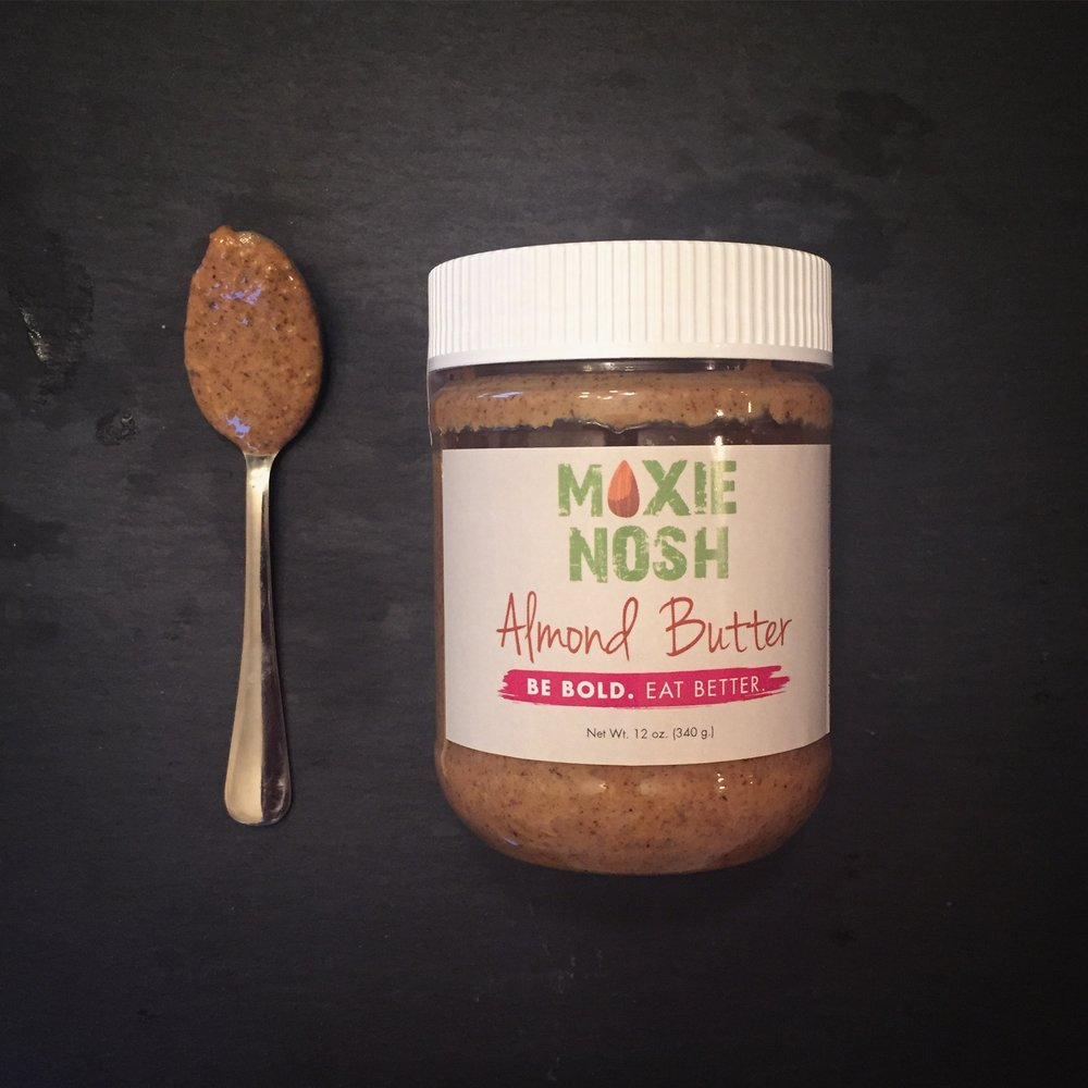 Moxie Nosh Almond Butter is made in Missoula, Montana with naturally dry roasted almonds, organic, unrefined coconut oil ,and a hint cinnamon & sea salt.
