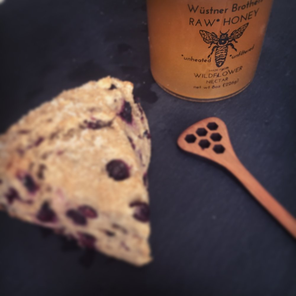 Huckleberry Lemon scones topped with Wustner Brother's Honey.