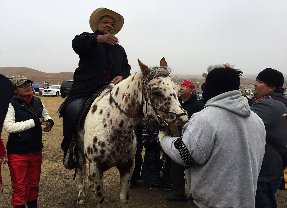 Red Fawn with the Rev. Jesse Jackson at Oceti Sakowin Camp, 2016