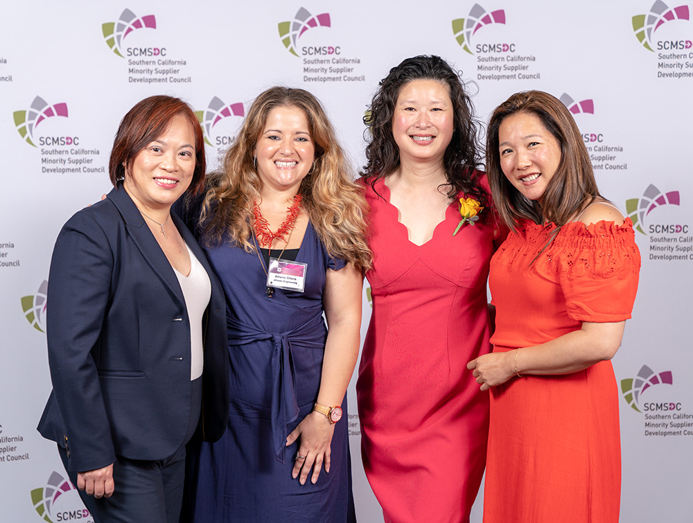(Left to Right) Caron Ng, Nu-Set, Inc.; Athena Chiera, Athena Engineering, Inc.; Lindy Huang Werges, Integritas Resources, Inc. + Zen Yoga Strap, Inc.; Stacia Kato-Takayesu, Toyota North America (Source: SCMSDC)